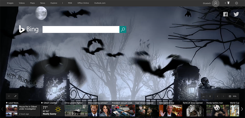 Ghoulish search on Bing