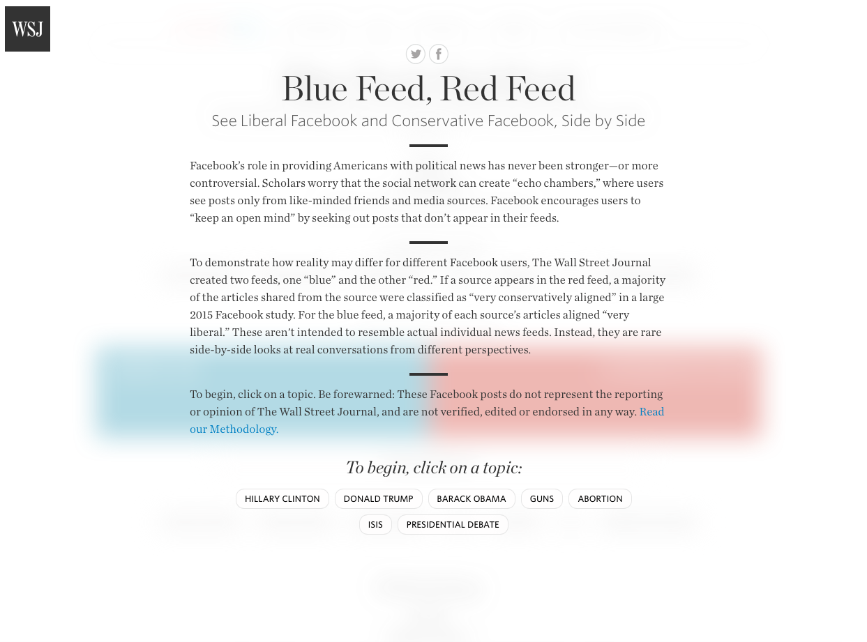 Blue Feed Red Feed changes daily and represent opposing views from social media