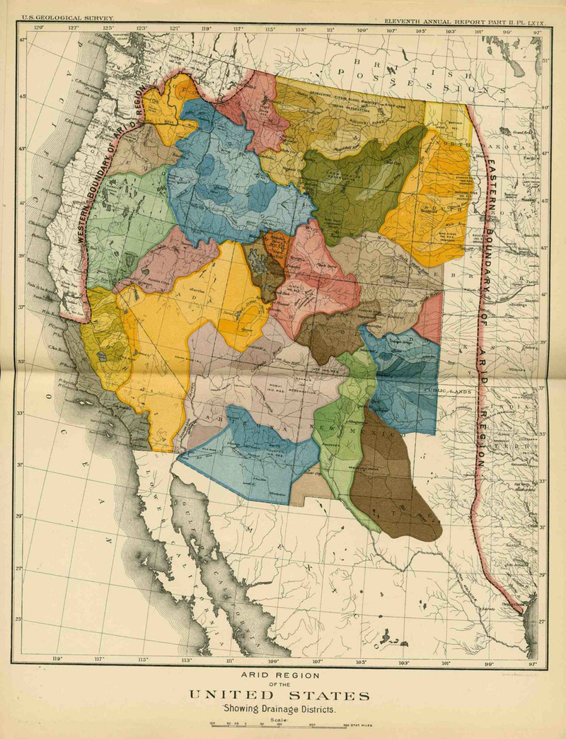 Infographic maps drawn by John Wesley Powell, a civil war hero who had lost an arm in the fighting and was now leading heroic expeditions in the remotest areas of the west, could have influenced how the West was populated and how state boundaries were drawn. But the nation did not listen