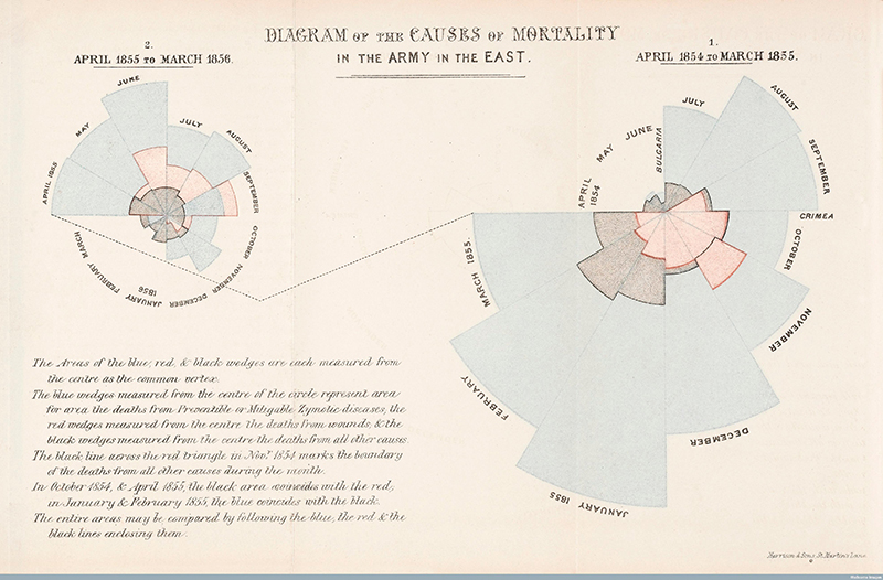 Causes of death during the Crimean War, 1854-1855.